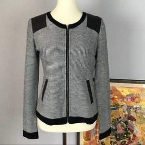 Mystree zip front cardigan | Faux leather accents